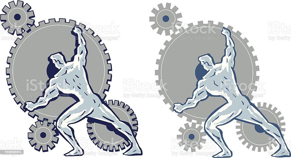 Man working gears. royalty-free stock vector art