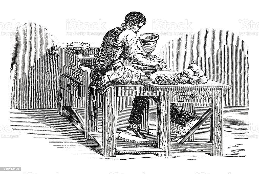 Hombre trabajando en potter's antique rueda (grabado) - ilustración de arte vectorial