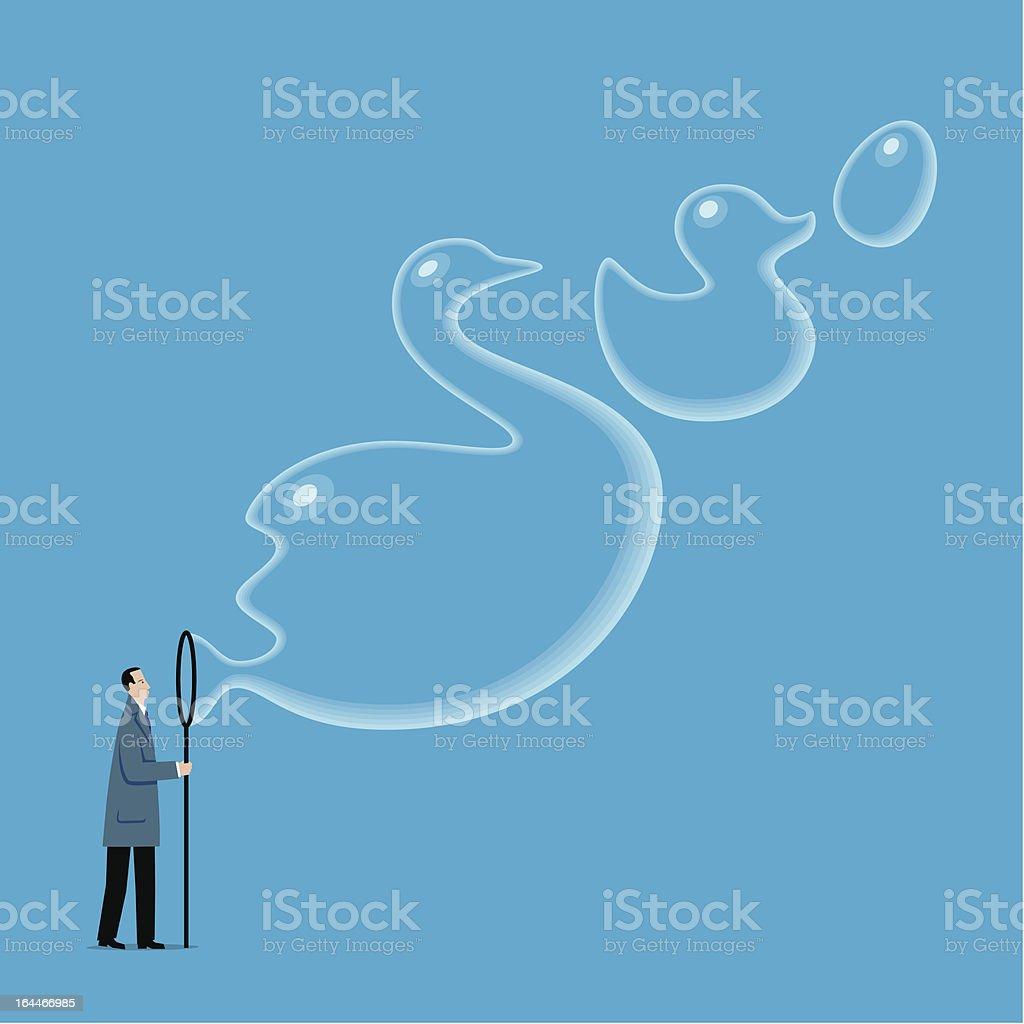 Man_blowing_dreams vector art illustration