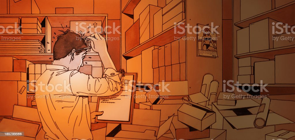 Manager counting stocks in warehouse royalty-free stock vector art