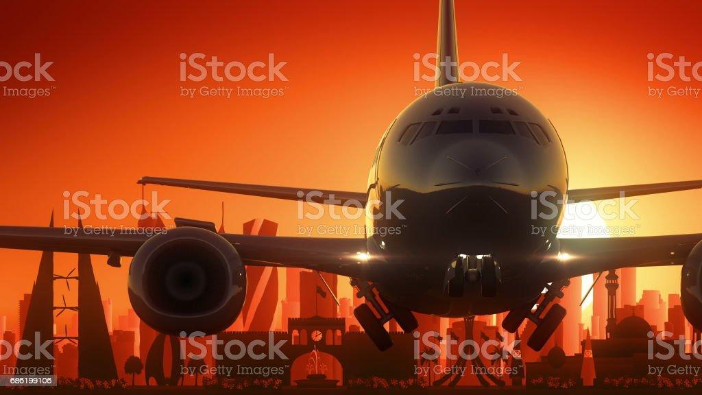 Manama City Bahrain Take Off Skyline Golden Background vector art illustration