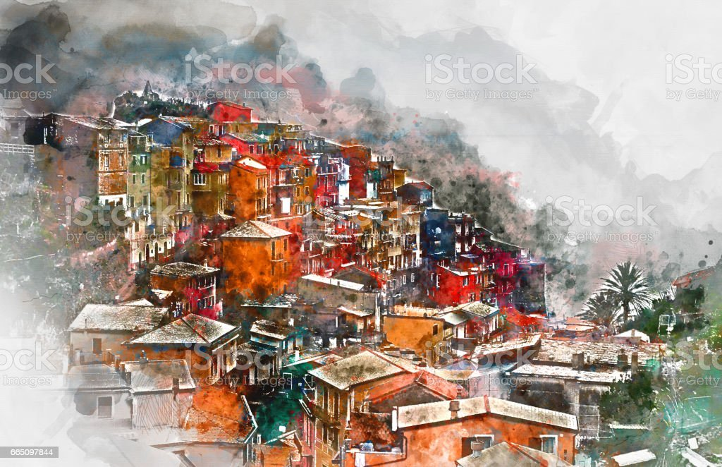 Manarola vector art illustration