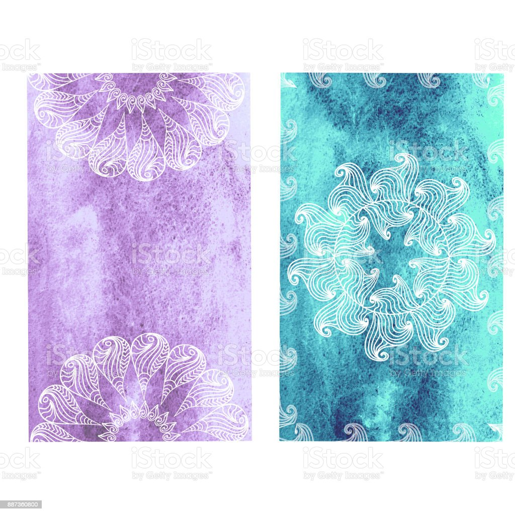 Mandala Bookmarks Set On Watercolor Background Immagini Vettoriali