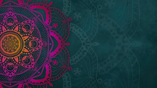 Mandala - Hand-drawn Magenta Mehndi Pattern on Teal Background - Chakra Design
