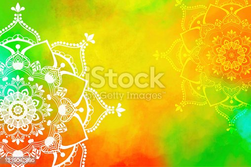 istock Mandala - Hand-drawn Mehndi Design on Hand-painted Watercolor Painting - Copy Space 1219042995