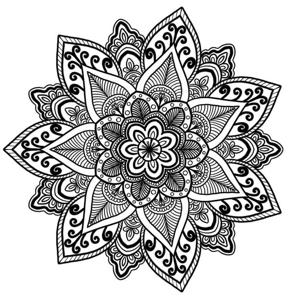 Mandala pattern coloring books mandala pattern concept meditation. indian henna tattoo pattern. coloring books for everyone and used for wallpapers. greeting card, paper pattern, tile pattern coloring book pages templates stock illustrations