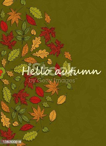 istock MAndalas autumn leaf ornaments banner, Hello Autumn greeting card 1280500518