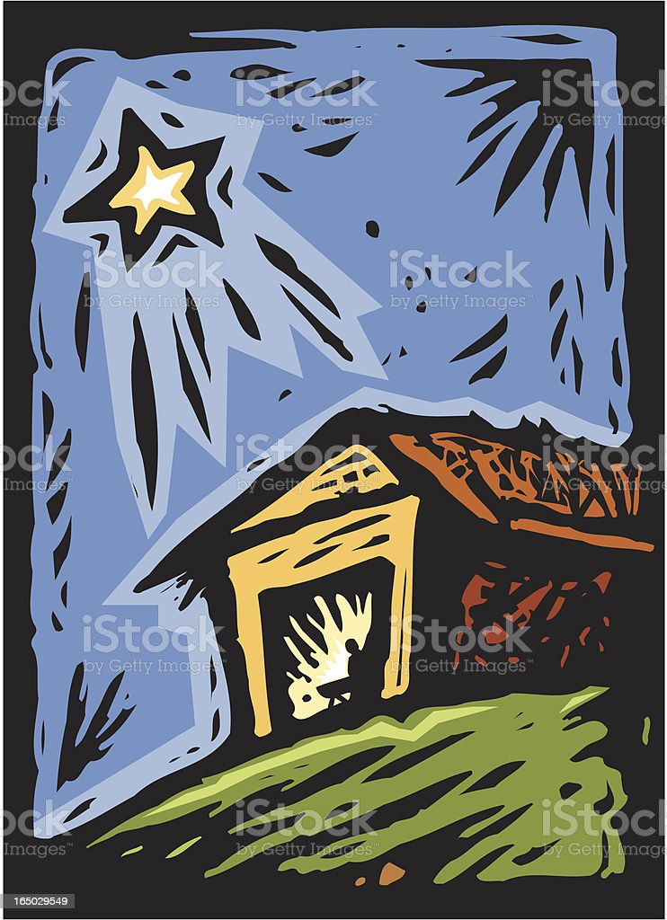 Manger and Star royalty-free stock vector art