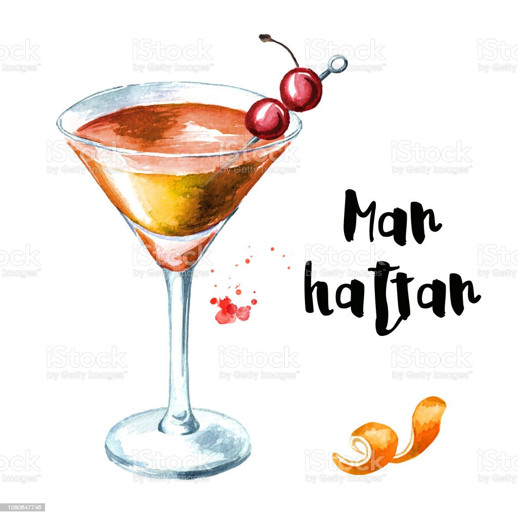 Manhattan Cocktail With Cherry And Orange Zest Watercolor Hand Drawn Illustration Isolated On White Background Stock Illustration Download Image Now Istock