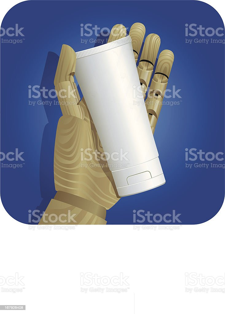Mannequin Hand with Packaging royalty-free stock vector art