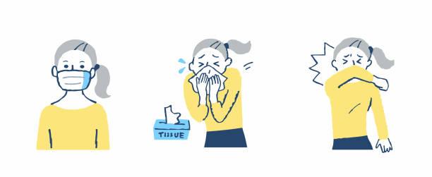 人を咳き込むマナーと注意 - くしゃみ 日本人点のイラスト素材/クリップアート素材/マンガ素材/アイコン素材