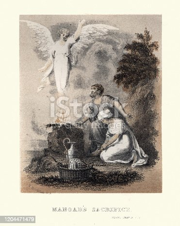 Vintage engraving of Manoah's sacrifice. Manoah and his barren wife sacrifice a ram to the angel of the Lord