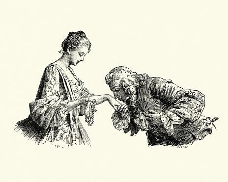 Manon Lescaut - Man kissing young womans hand