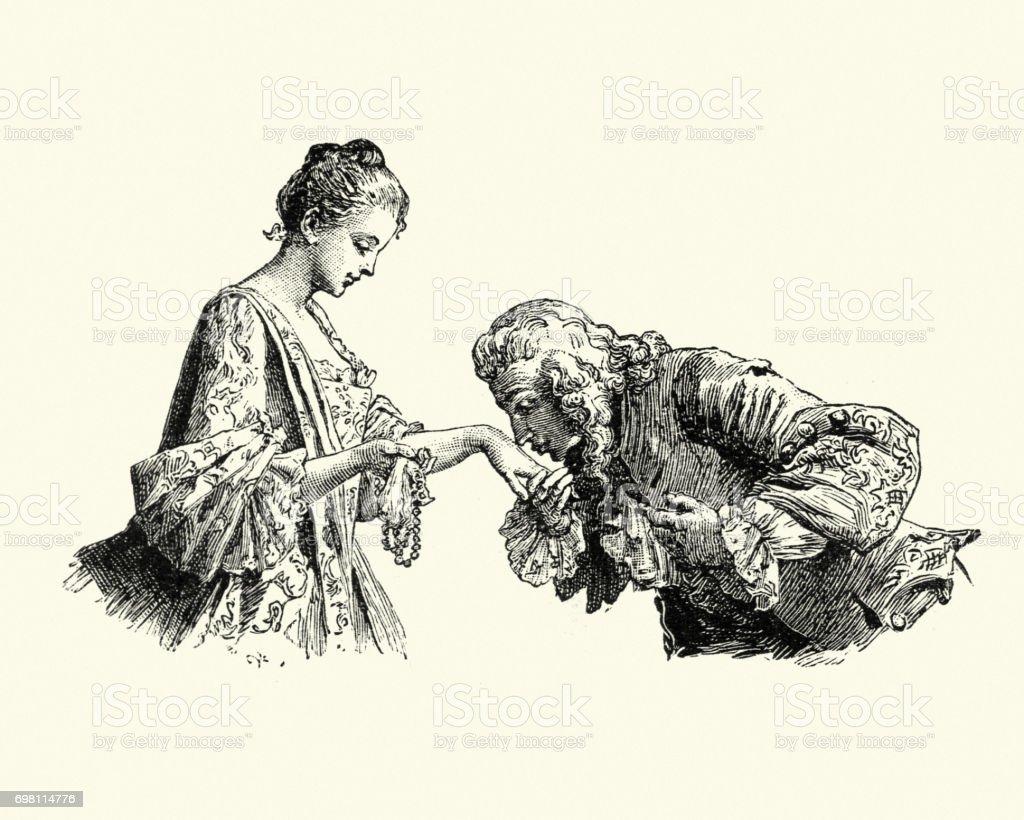 Manon Lescaut - Man kissing young womans hand vector art illustration