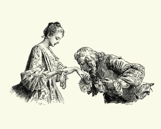 stockillustraties, clipart, cartoons en iconen met manon lescaut - man jonge dames hand kussen - 18e eeuw