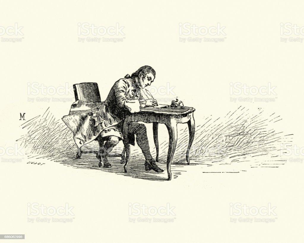 Manon Lescaut - Man sat at desk writing a letter vector art illustration