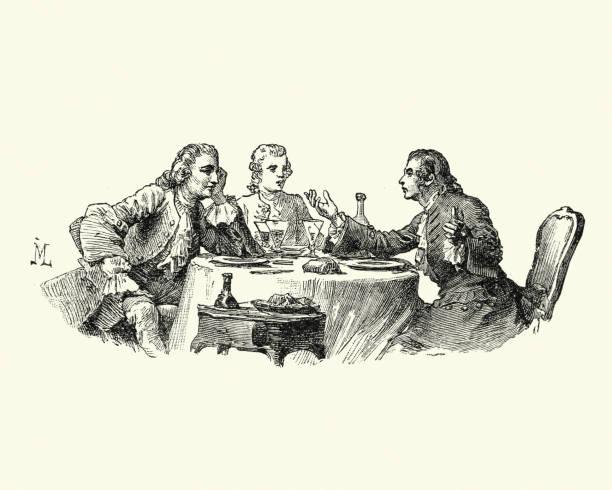 stockillustraties, clipart, cartoons en iconen met manon lescaut - mannen praten over een maaltijd 18e eeuw - 18e eeuw