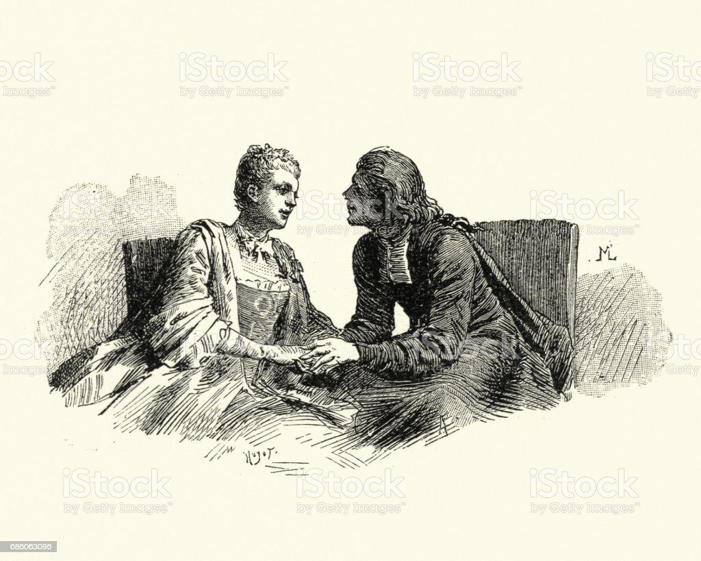 Manon Lescaut - Young couple holding hands vector art illustration