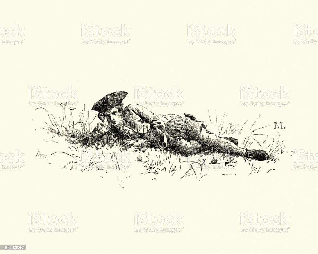 Manon Lescaut - Young man laid down in the grass vector art illustration