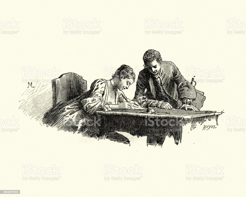 Manon Lescaut - Young woman writing a letter 18th Century vector art illustration