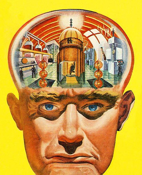 ilustraciones, imágenes clip art, dibujos animados e iconos de stock de hombre powerplant cerebral - ojos azules