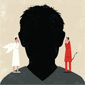 Man in a dilema as the devil and an angel whisper in his ear. The main elements are grouped in separate layers. The texture has itA's own layer. Illustrator eps vector file and jpg file available.