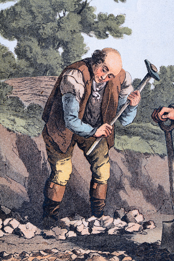 Manual worker breaking stones with sledgehammer to make roads, Yorkshire, early 19th Century English Art