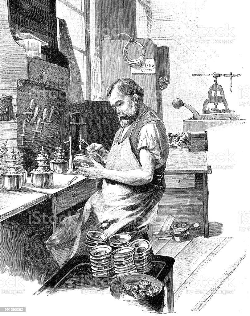 Vervaardiging van elektrische lampen: de vergadering werknemervectorkunst illustratie