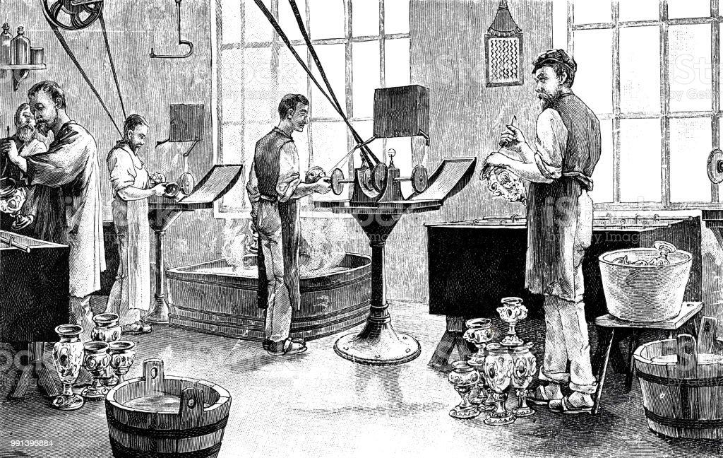 Vervaardiging van elektrische lampen: de galvaniserenvectorkunst illustratie