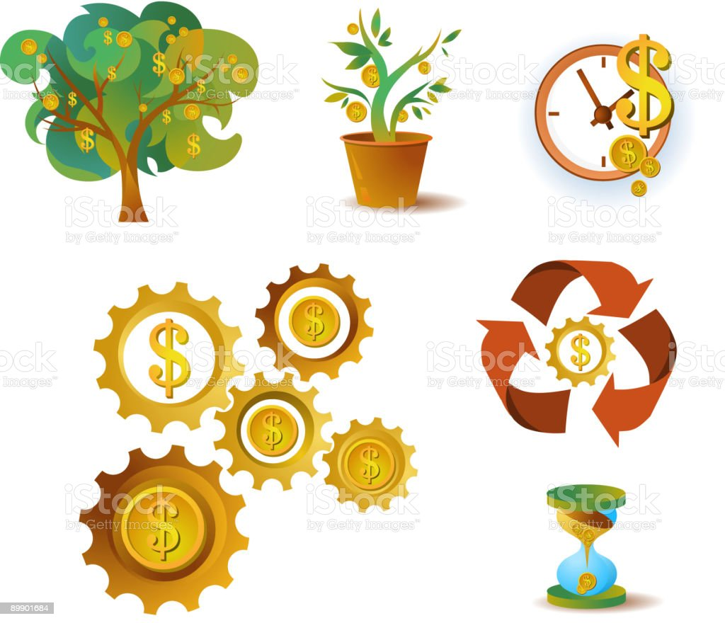 many icons of money royalty-free stock vector art