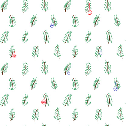 Many scattered pine branches on white background. Seamless pattern surfase design. Hand drawn with pencils. Naive childish style. Brown and green branches on white background. Winter christmas design