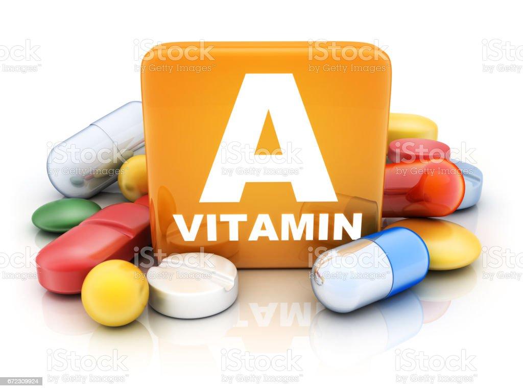 Many tablets and vitamin A vector art illustration