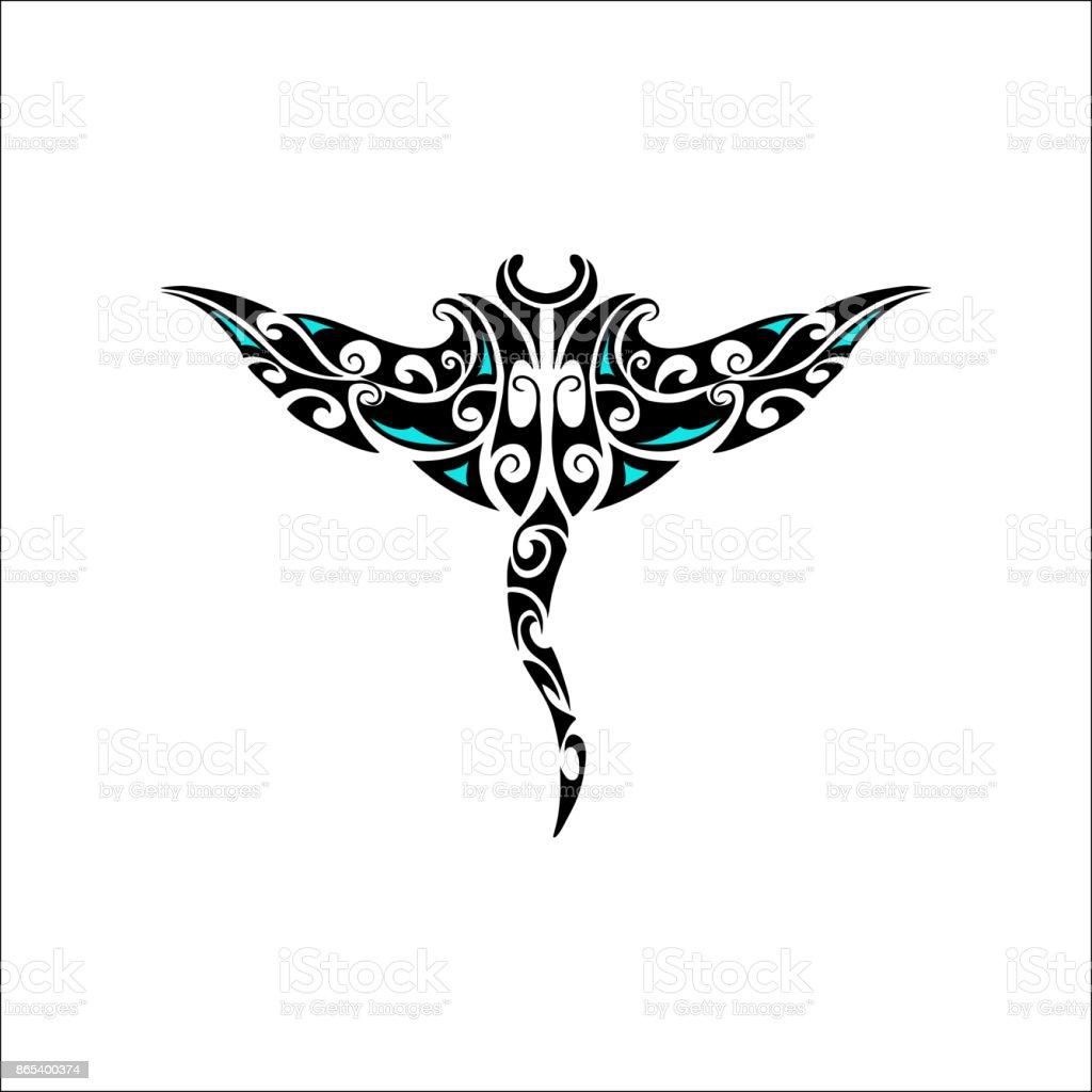 Maori style manta isolated on white vector art illustration