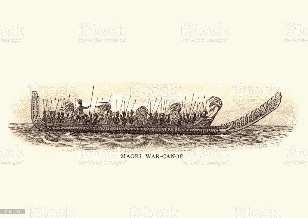 Maori War Canoe, 19th Century vector art illustration