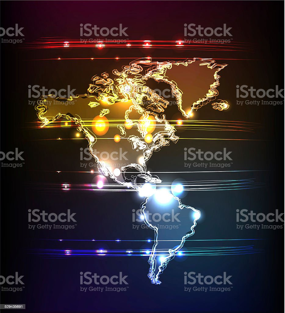 Map, America side. Neon collection vector art illustration