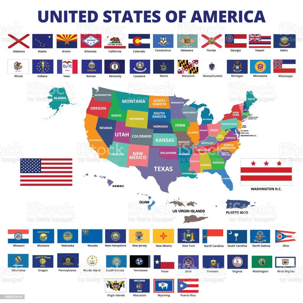 Estados Unidos mapa e a bandeira - ilustração de arte em vetor