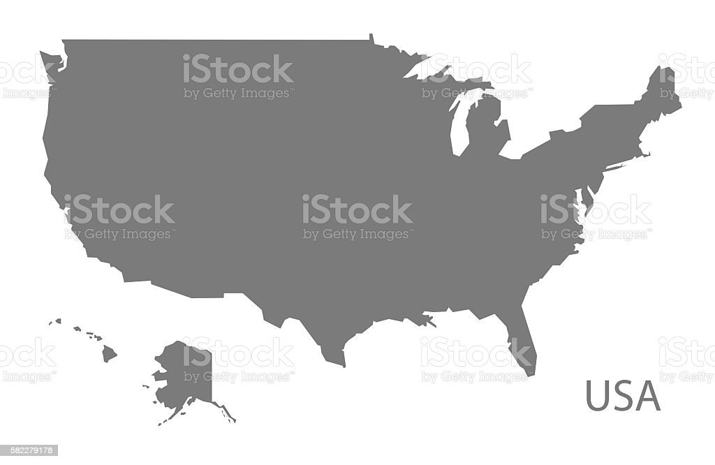Usa Map Grey Stock Vector Art IStock - Usa map graphic