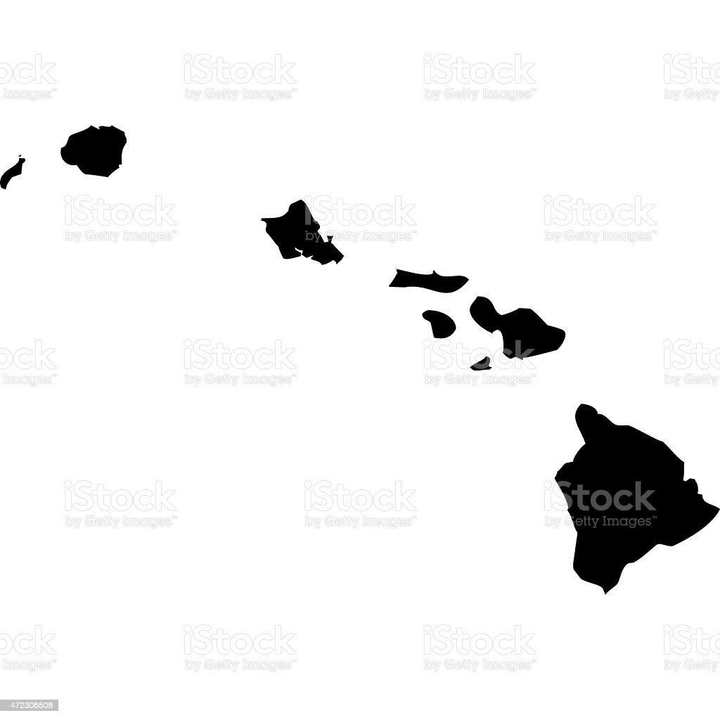 Map Hawaii vector art illustration