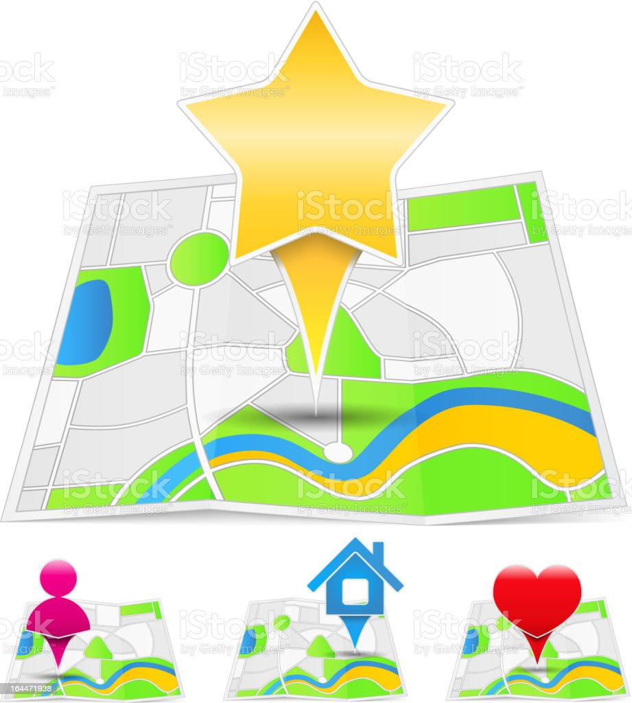 Map Icons vector art illustration
