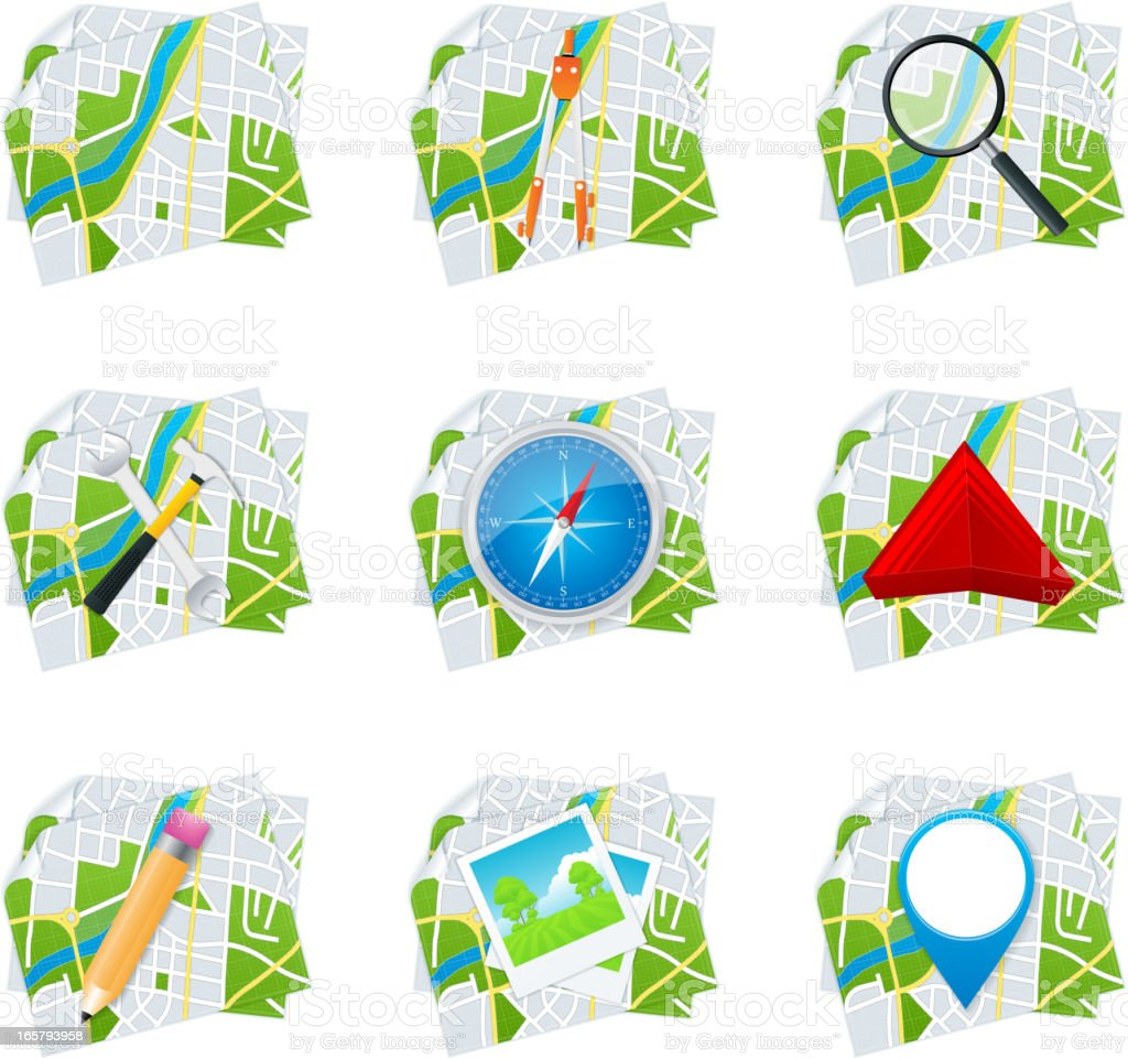 Map icons royalty-free stock vector art