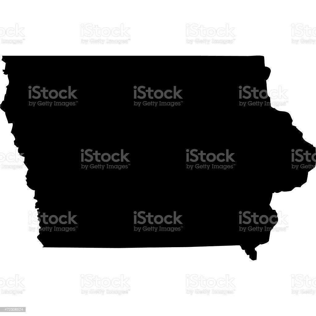 Map Iowa vector art illustration