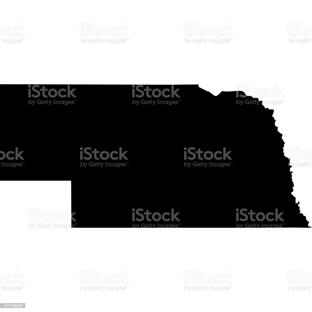 Map Nebraska vector art illustration