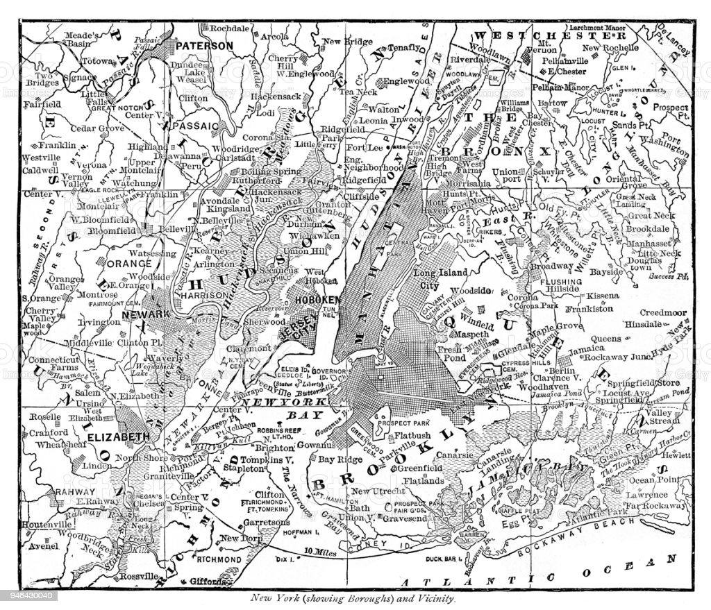 Carte New York Et Alentours.Carte De New York Et Les Alentours De 1889 Vecteurs Libres