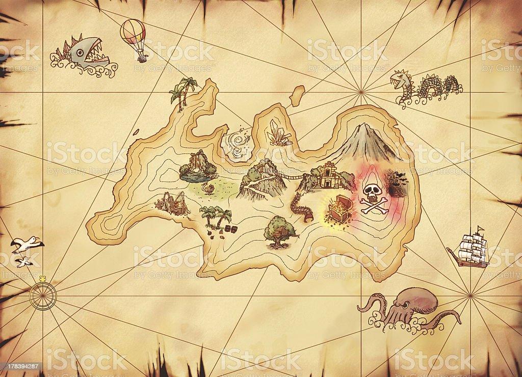 Map of a treasure island,with adventure vector art illustration