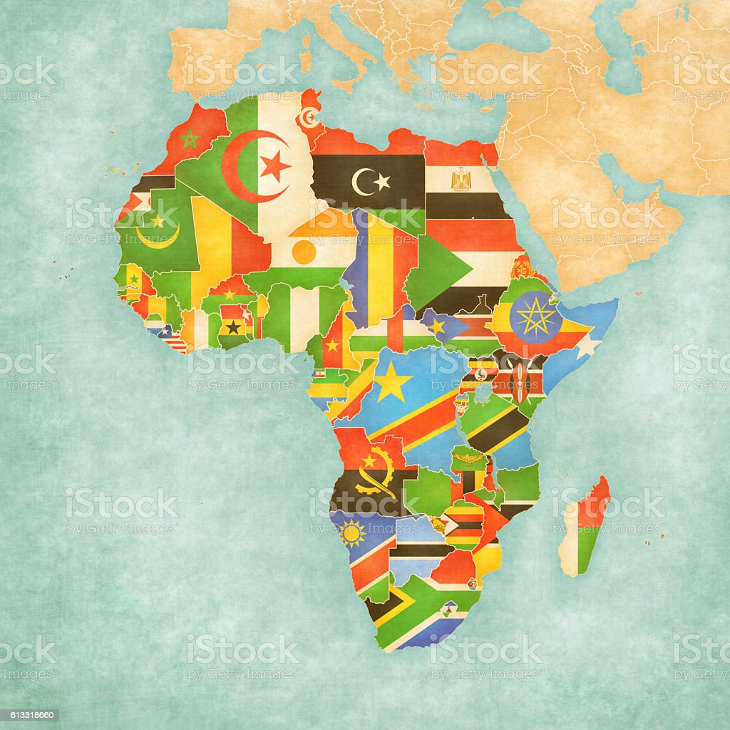 Map Of Africa With Flags.Map Of Africa Flags Of All Countries Stock Vector Art More Images