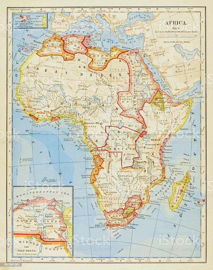 1883 Map Of Africa vector art illustration