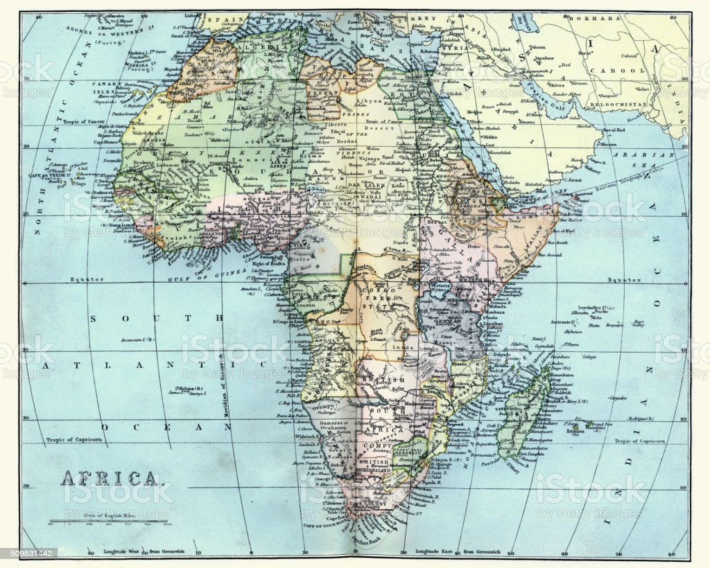 19th Century Africa Map.Map Of Africa In The Late 19th Century Stock Vector Art More