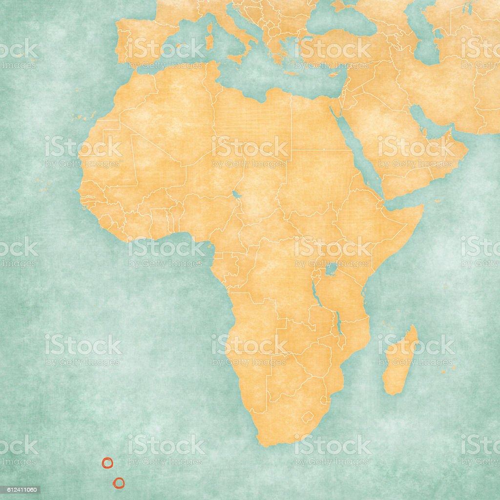Map of Africa - Tristan da Cunha vector art illustration