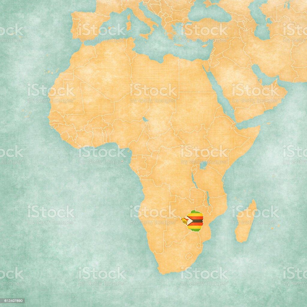Map of Africa - Zimbabwe vector art illustration