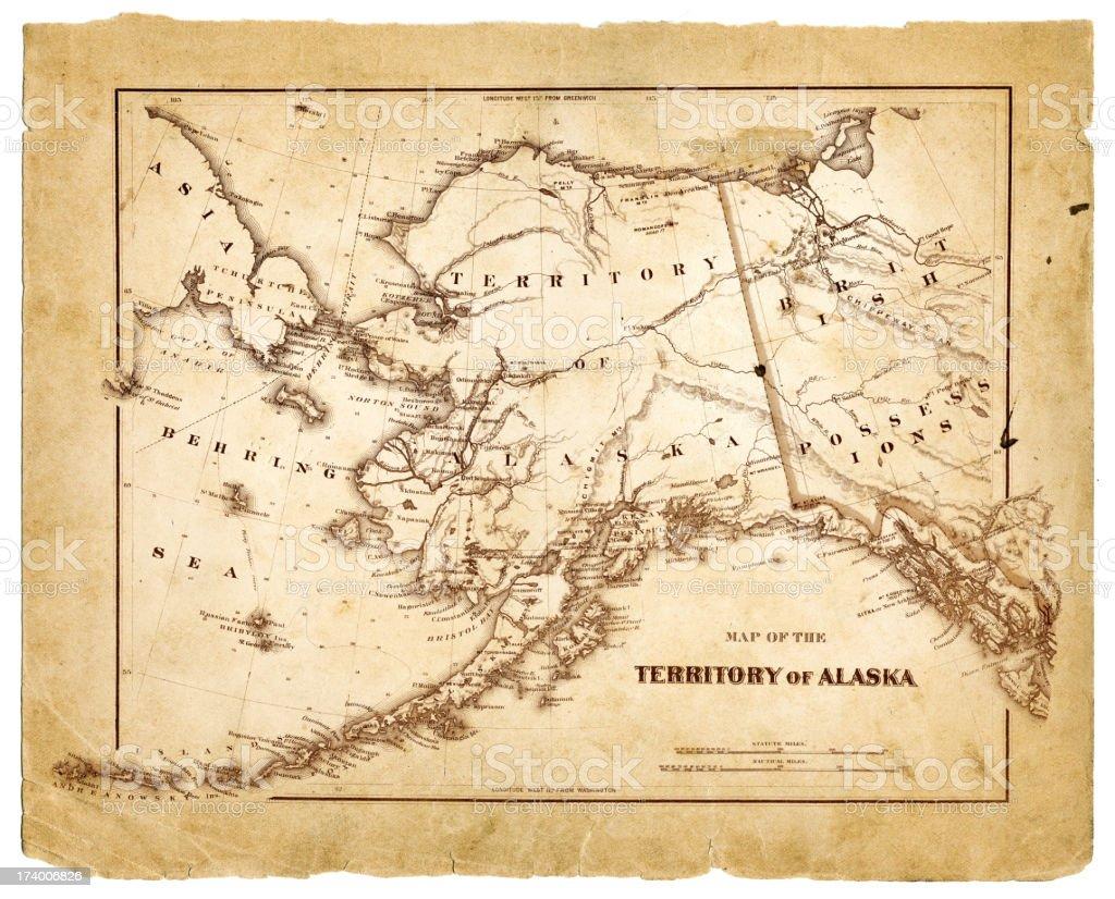 map of alaska 1878 vector art illustration